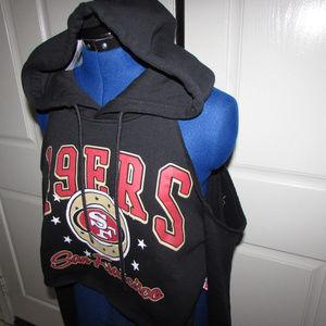 ce61857c3b173 NFL Tops - NEW-Women San Francisco 49ers Black Crop Hoodie M